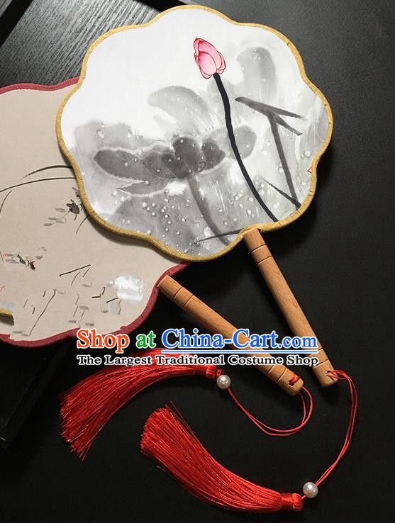 Chinese Handmade Classical Palace Fans Traditional Ink Painting Lotus Bud Hanfu Fan for Women