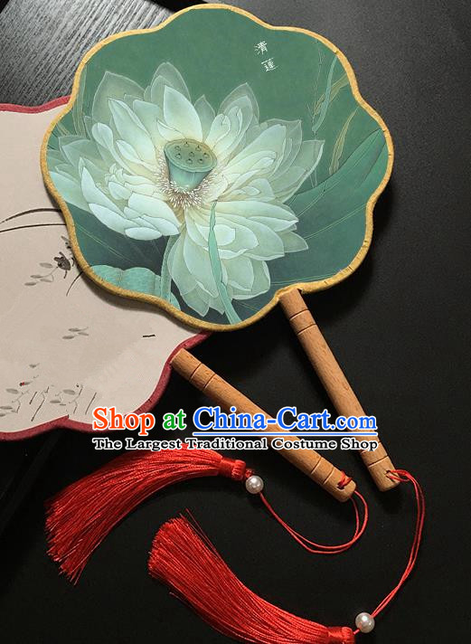 Chinese Handmade Classical Palace Fans Traditional Ink Painting Lotus Green Hanfu Fan for Women