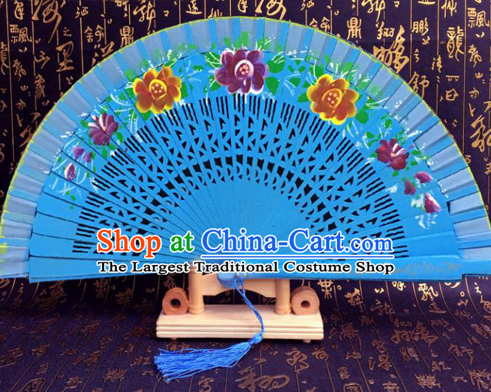 Chinese Handmade Classical Folding Fans Blue Wood Hollow Out Accordion Fan for Women