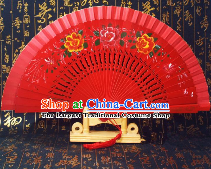 Chinese Handmade Classical Folding Fans Red Wood Hollow Out Accordion Fan for Women