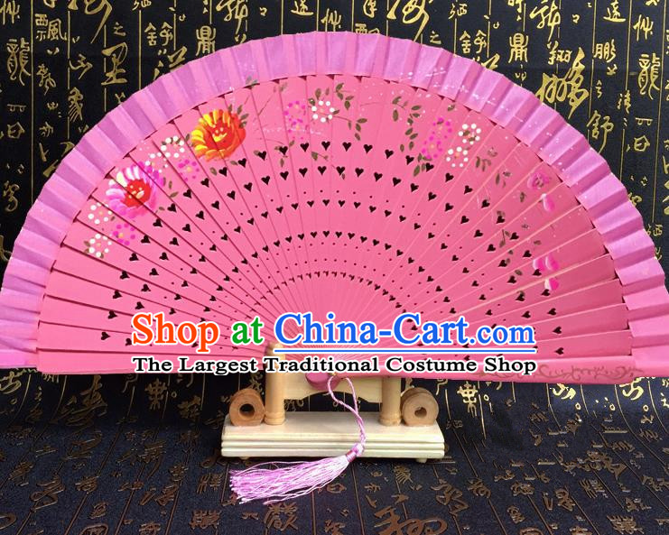 Chinese Handmade Classical Folding Fans Printing Wood Pink Accordion Fan for Women