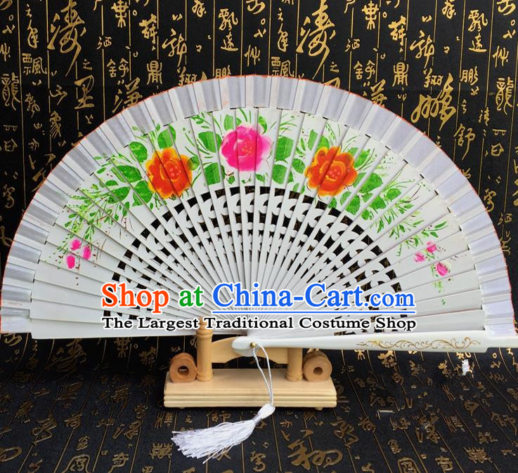 Chinese Handmade Classical Folding Fans Printing Flowers Wood White Accordion Fan for Women