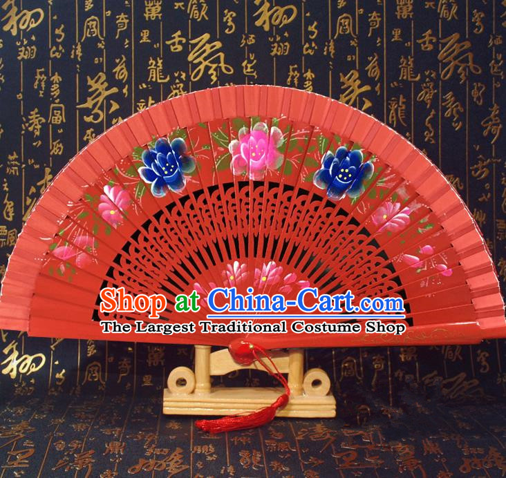 Chinese Handmade Classical Folding Fans Printing Flowers Wood Red Accordion Fan for Women