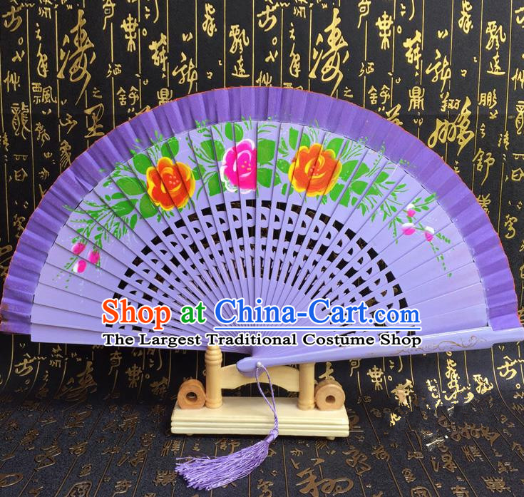 Chinese Handmade Classical Folding Fans Printing Flowers Wood Purple Accordion Fan for Women
