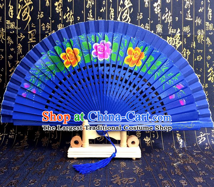 Chinese Handmade Classical Folding Fans Printing Flowers Wood Royalblue Accordion Fan for Women