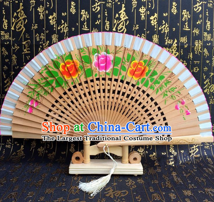 Chinese Handmade Classical Folding Fans Printing Flowers Wood Accordion Fan for Women