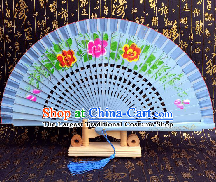Chinese Handmade Classical Folding Fans Printing Flowers Wood Blue Accordion Fan for Women