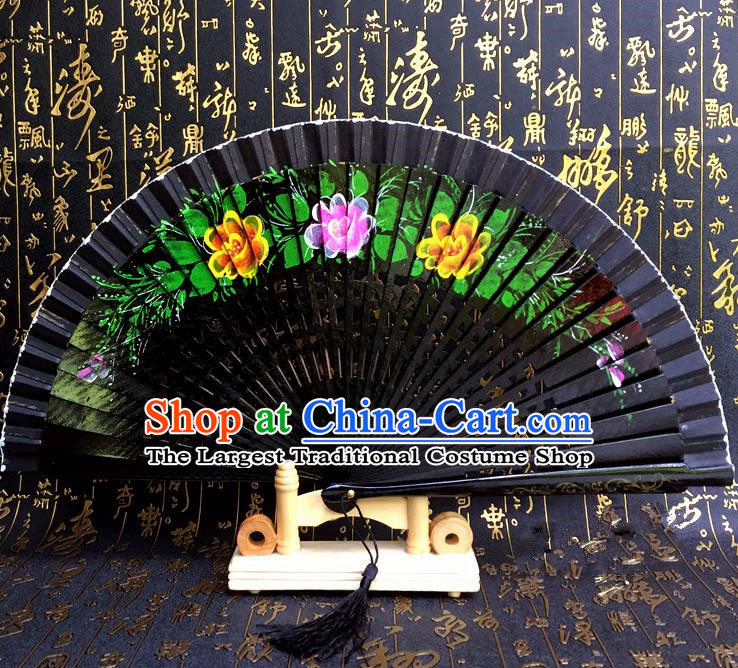 Chinese Handmade Classical Folding Fans Printing Flowers Wood Black Accordion Fan for Women
