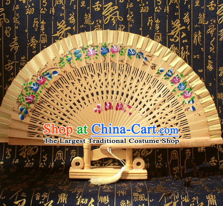 Chinese Handmade Classical Folding Fans Printing Flowers Wood Golden Silk Accordion Fan for Women