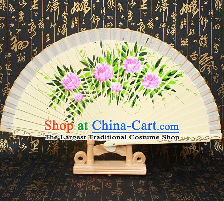 Chinese Handmade Classical Folding Fans Printing Flowers Wood Beige Silk Accordion Fan for Women