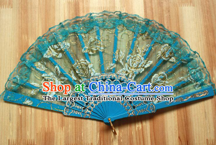 Chinese Handmade Folk Dance Blue Lace Rose Folding Fans Classical Accordion Fan for Women