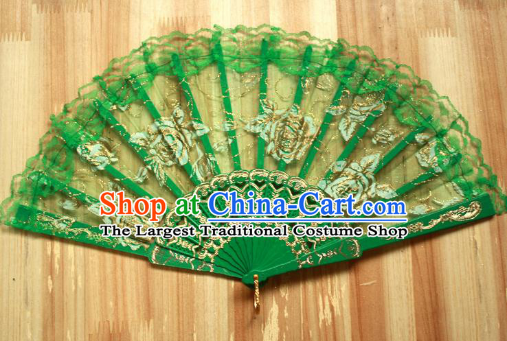 Chinese Handmade Folk Dance Green Lace Rose Folding Fans Classical Accordion Fan for Women