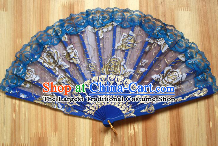 Chinese Handmade Folk Dance Royalblue Lace Rose Folding Fans Classical Accordion Fan for Women
