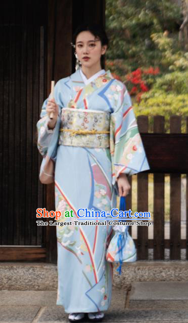 Japanese Handmade Kimono Japan Traditional Yukata Blue Dress for Women