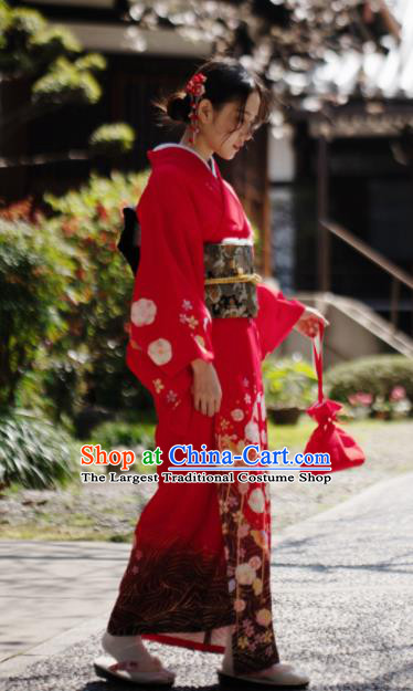 Japanese Handmade Kimono Japan Traditional Yukata Red Dress for Women