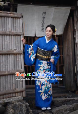 Japanese Handmade Kimono Japan Traditional Yukata Deep Blue Dress for Women
