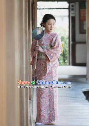 Japanese Handmade Kimono Japan Traditional Yukata Pink Dress for Women