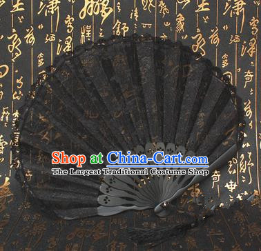 Chinese Handmade Classical Folding Fans Folk Dance Black Lace Accordion Fan for Women