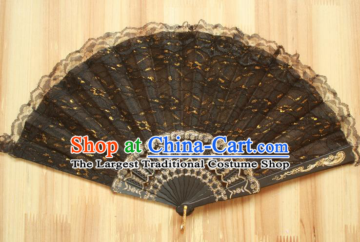 Chinese Handmade Classical Black Lace Folding Fans Folk Dance Accordion Fan for Women