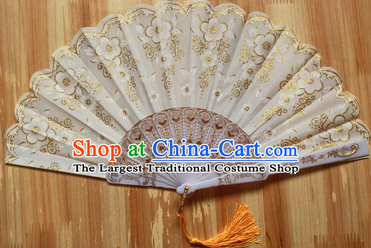 Chinese Handmade Folk Dance White Folding Fans Classical Accordion Fan for Women