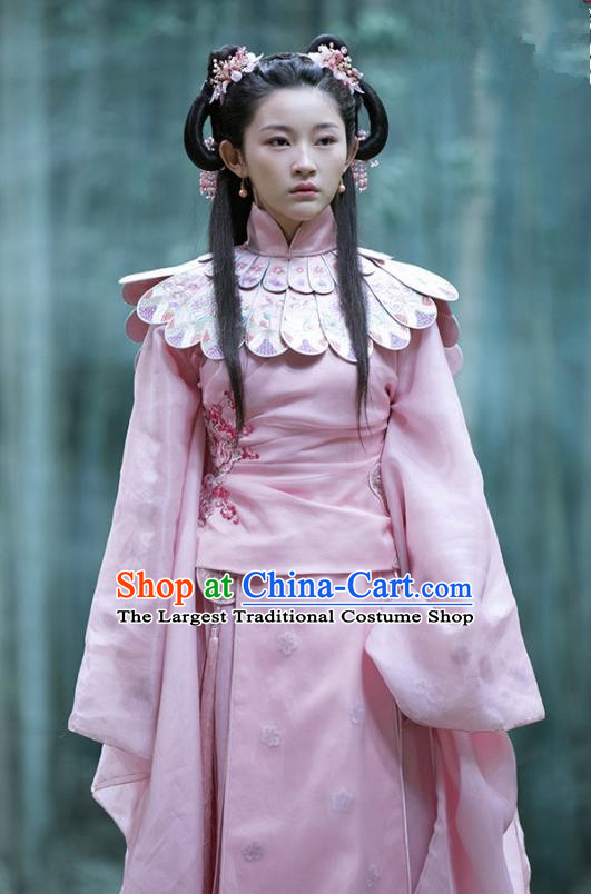 Film The Knight of Shadows Chinese Ming Dynasty Princess Pink Hanfu Dress Ancient Peri Embroidered Costume and Headpiece for Women