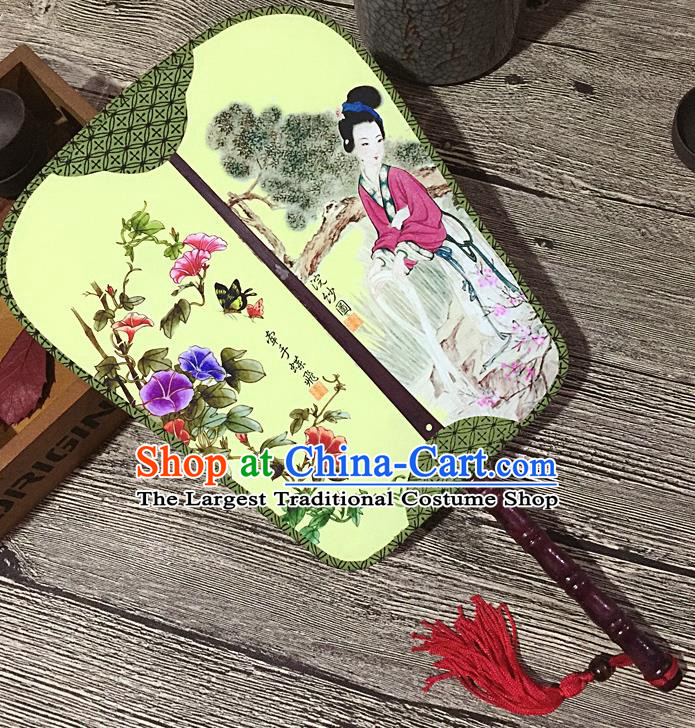 Chinese Handmade Classical Palace Fans Traditional Printing Petunia Hanfu Square Fan for Women