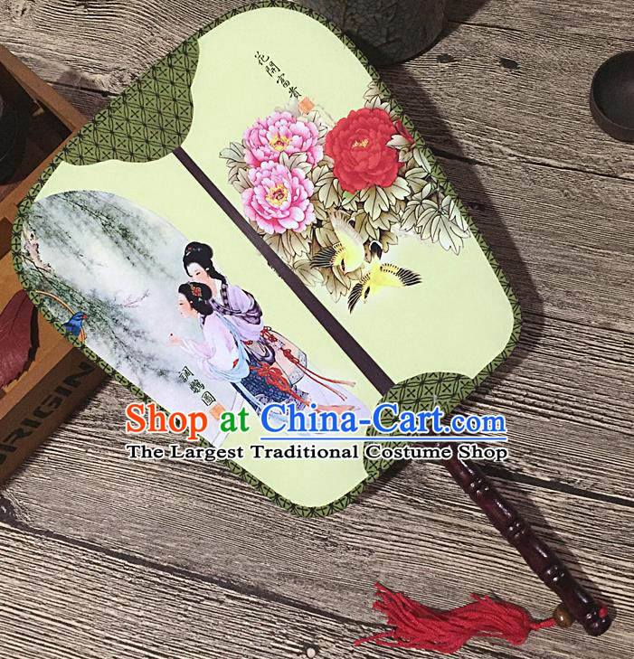 Chinese Handmade Classical Palace Fans Traditional Printing Parrot Hanfu Square Fan for Women