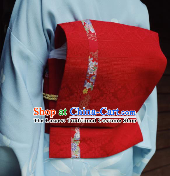 Japanese Handmade Kimono Waist Accessories Waistband Japan Traditional Yukata Red Belts for Women