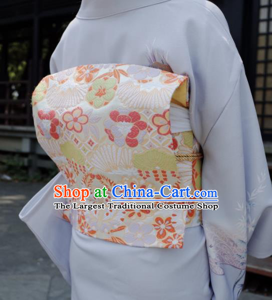 Japanese Handmade Kimono Waist Accessories White Brocade Waistband Japan Traditional Yukata Belts for Women