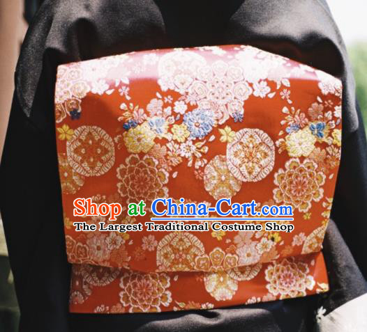 Japanese Handmade Kimono Waist Accessories Red Brocade Waistband Japan Traditional Yukata Belts for Women