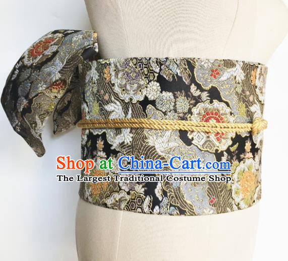 Japanese Handmade Kimono Waist Accessories Black Brocade Waistband Japan Traditional Yukata Belts for Women