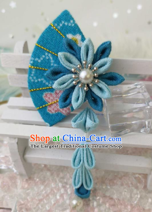 Japanese Handmade Kimono Hair Accessories Japan Traditional Blue Fan Tassel Hairpins for Women