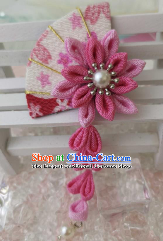 Japanese Handmade Kimono Pink Fan Hair Accessories Japan Traditional Tassel Hairpins for Women