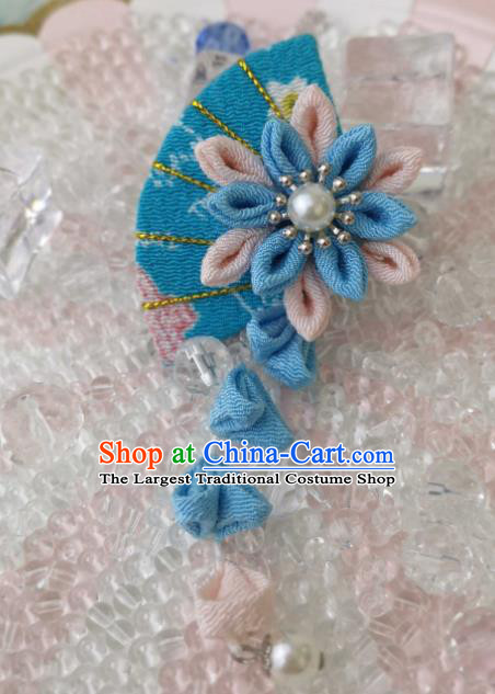 Japanese Handmade Kimono Blue Fan Hair Accessories Japan Traditional Tassel Hairpins for Women