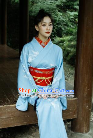 Japanese Handmade Printing Bamboo Blue Kimono Costume Japan Traditional Yukata Dress for Women