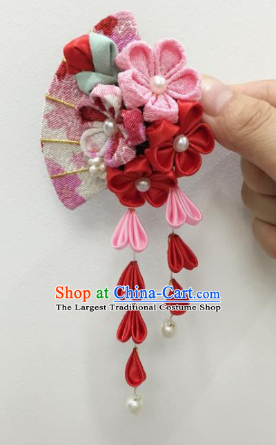 Japan Traditional Yukata Red Sakura Tassel Hair Claw Japanese Handmade Kimono Hair Accessories for Women