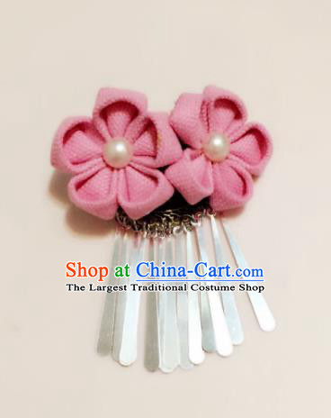 Japan Traditional Yukata Pink Sakura Tassel Hair Claw Japanese Handmade Kimono Hair Accessories for Women