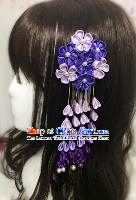 Japan Traditional Yukata Purple Sakura Tassel Hair Claw Japanese Handmade Kimono Hair Accessories for Women