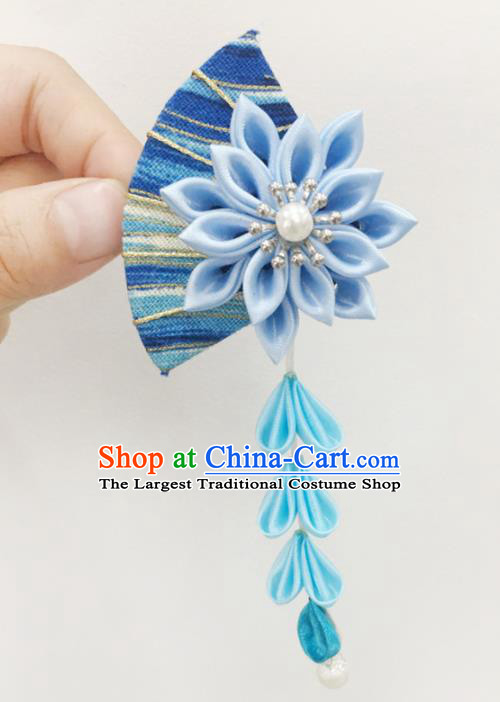 Japan Traditional Yukata Blue Fan Flowers Tassel Hair Claw Japanese Handmade Kimono Hair Accessories for Women