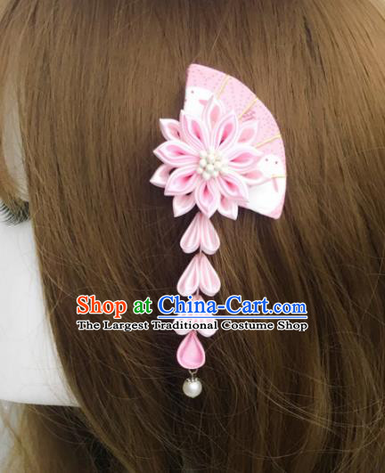 Japan Traditional Yukata Pink Fan Flowers Tassel Hair Claw Japanese Handmade Kimono Hair Accessories for Women