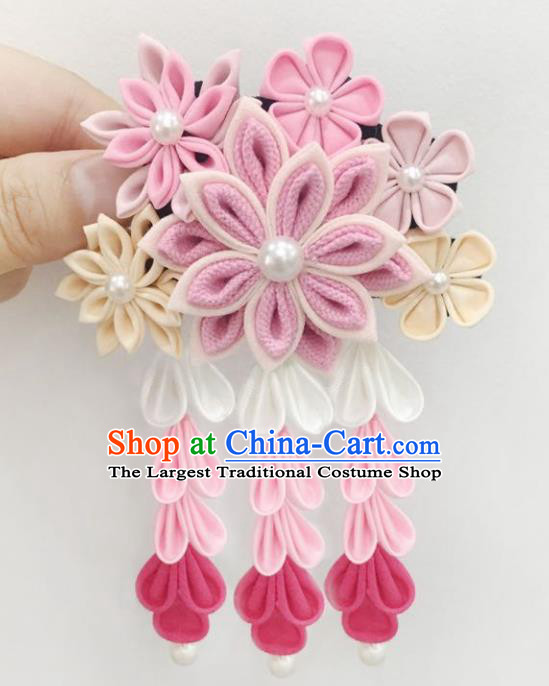 Japan Traditional Yukata Pink Flowers Tassel Hair Claw Japanese Handmade Kimono Hair Accessories for Women