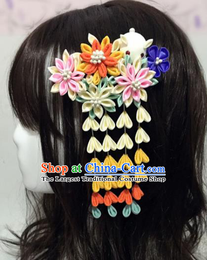 Japan Traditional Yukata Tassel Hair Claw Japanese Handmade Kimono Hair Accessories for Women