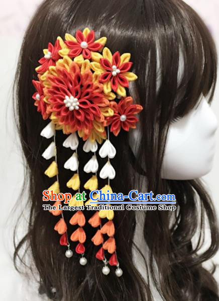 Japan Traditional Geisha Yukata Tassel Hair Claw Japanese Handmade Kimono Hair Accessories for Women