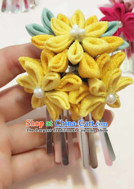 Japan Traditional Geisha Yukata Yellow Flowers Tassel Hair Claw Japanese Handmade Kimono Hair Accessories for Women