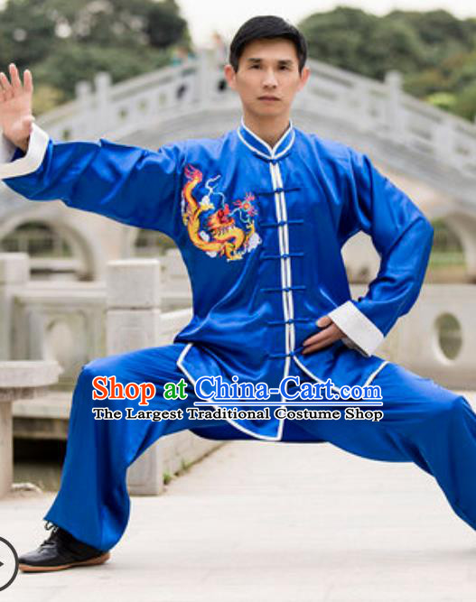 Top Chinese Traditional Tai Chi Blue Costume Martial Arts Training Uniform Kung Fu Wushu Clothing for Men