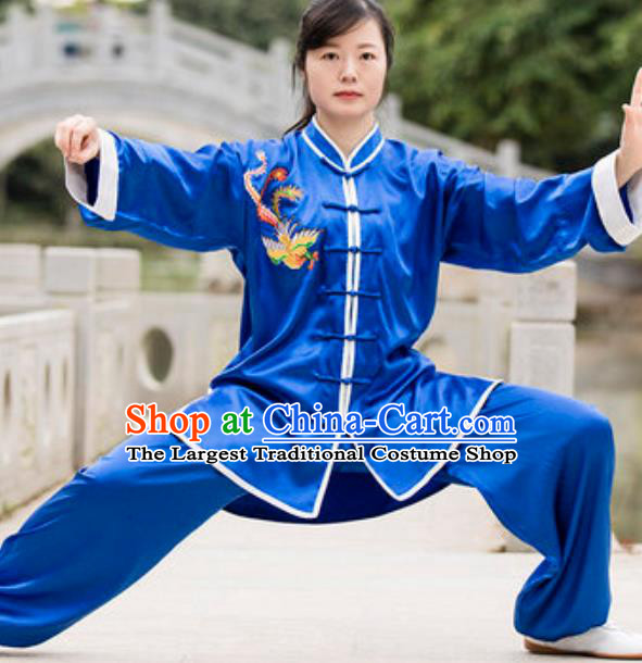 Chinese Traditional Tai Chi Blue Costume Martial Arts Training Uniform Kung Fu Wushu Clothing for Women