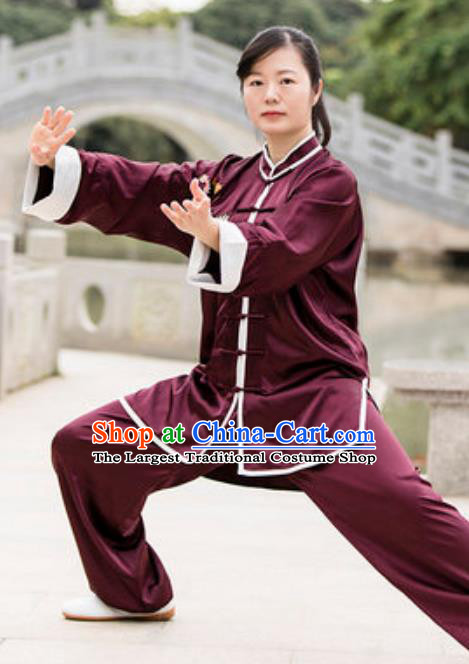 Chinese Traditional Tai Chi Wine Red Costume Martial Arts Training Uniform Kung Fu Wushu Clothing for Women
