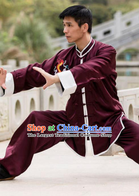 Top Chinese Traditional Tai Chi Wine Red Costume Martial Arts Training Uniform Kung Fu Wushu Clothing for Men