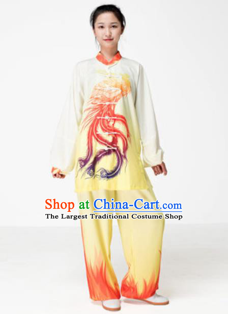 Chinese Traditional Tai Chi Printing Phoenix Yellow Costume Martial Arts Training Uniform Kung Fu Wushu Clothing for Women