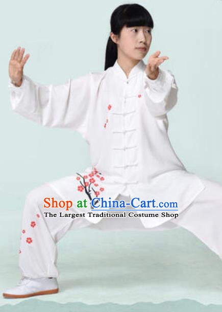 Chinese Traditional Tai Chi Printing Plum Blossom White Costume Martial Arts Training Uniform Kung Fu Wushu Clothing for Women